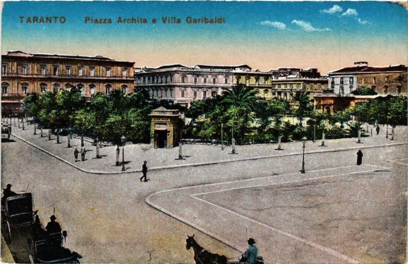 CPA AK TARANTO Piazza Archita e Villa Garibaldi. ITALY (531704)