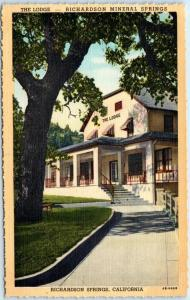 RICHARDSON MINERAL SPRINGS, California  CA   THE LODGE  c1940s Linen Postcard