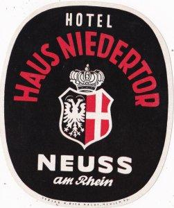 Germany Neuss an Rhein Hotel Haus Niedertor Vintage Luggage Label sk1199