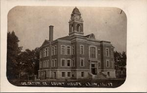 Leon Iowa~Decatur County Court House~Clock Tower~c1910 Real Photo Postcard~RPPC