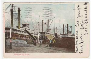 Steamer Levee New Orleans Louisiana 1908 postcard