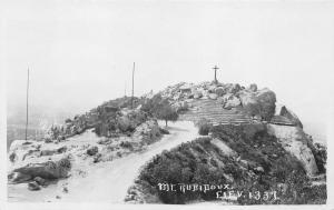 California~Mt Rubidoux~Cross on Pile of Stones on Top~1920s RPPC Postcard