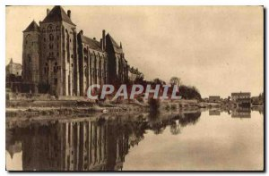 Old Postcard The Abbey of Solesmes for the right bank of the Sarthe