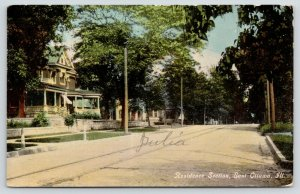 East Ottawa Illinois~Residential Street~Trolley Tracks Past Nice Homes~1909