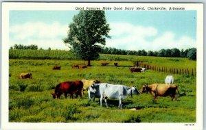 Clarksville, Ark. Postcard Good Pastures Make Good Dairy Herd Curteich 1930s