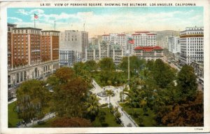 View of Pershing Square, Showing the Biltmore Los Angeles California postcard