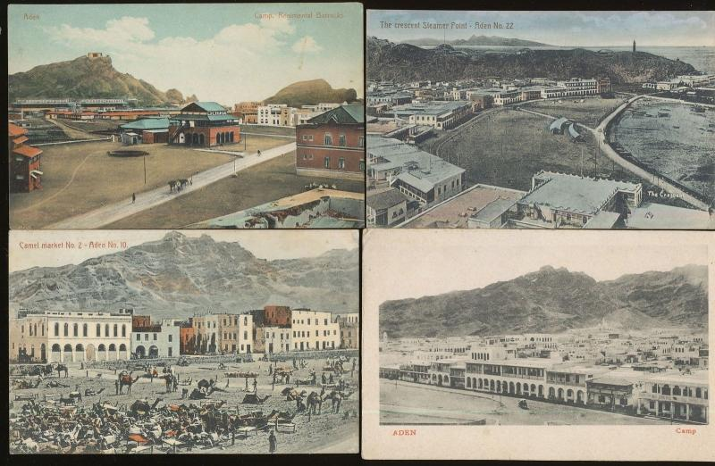 Aden Yemen 8 Fine Color Pre Linen Postcards ca 1910