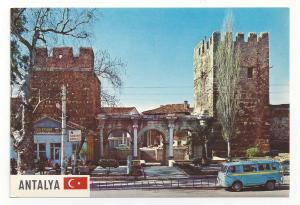 Turkey Antalya Hadrians Gate Portal VW Bus Volkswagen Vtg Hitit 4X6 Postcard