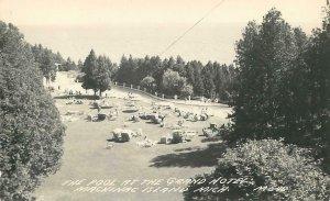 RPPC  MACKINAC ISLAND, Michigan MI   Swimming Pool  GRAND HOTEL  1940s Postcard