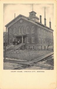 Virginia City Montana~Crowd on Court House Steps~Wooden Sidewalk~1940s Artvue PC