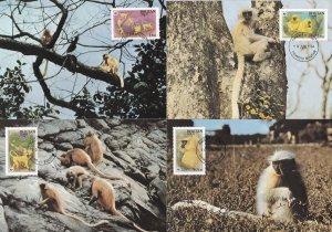 Golden Langur Bhutan Monkey 4x WWF First Day Cover Stamp Postcard s