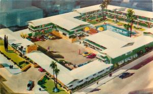 Hollywood California~Hollywood Highlander Resort Hotel~1960s Artist Drawn PC