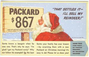 1939 Packard Car Ad Santa Reindeer Bargain Auto Postcard