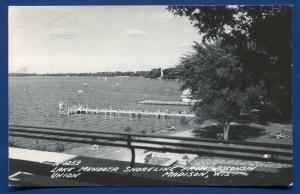 Lake Mendota Shoreline from Wisconsin Union Madison real photo postcard RPPC