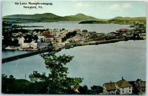 Newport, Vermont Postcard On Lake Memphremagog Bird's-Eye View c1910s Unused