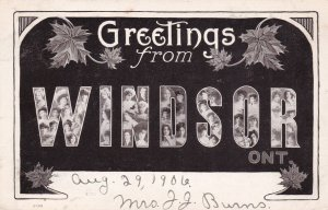 Large Letter WINDSOR , Ontario , Canada , 1906