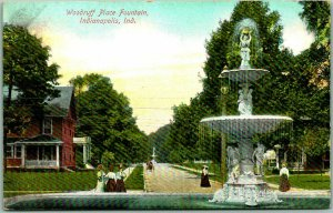 1910s Indianapolis, Indiana Postcard Woodruff Place Fountain Street Scene