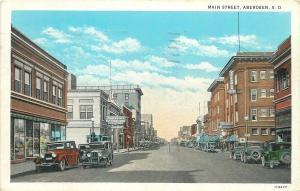 Aberdeen SD~Main Street~Calmensun's Kuppenheimer Clothes~Soda Candy~1920s Cars