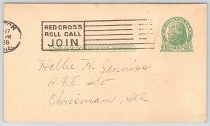 Dayton Ohio~McCall Magazine Postal Receipt~Nice Red Cross Roll Call 1926 Cancel