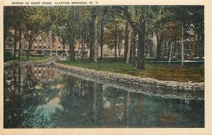 Clifton Springs NY Stone Lined Sulphur Spring by Sanitarium Now Apts c1920 pc