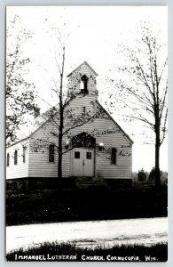 Cornucopia Wisconsin~Immanuel Lutheran Church~Open Belfry~Dirt Road~1968 RPPC