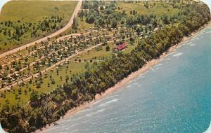 Manistee MI~Road by Orchard Beach State Park~Aerial View 1960s~Postcard