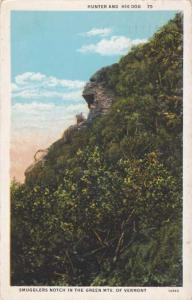 Hunter and Dog - Smugglers Notch, Green Mountains VT, Vermont - pm 1933 - WB