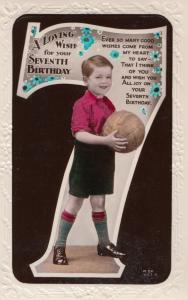 Football Happy 7th Birthday Childrens Footballer Greetings Antique Old Postcard