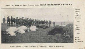 PIPER CITY , Illinois, 1909 ; Horses Killed by Lightning