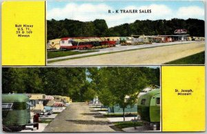 St. Joseph, Missouri Advertising Postcard R-K TRAILER SALES Kropp Linen c1940s