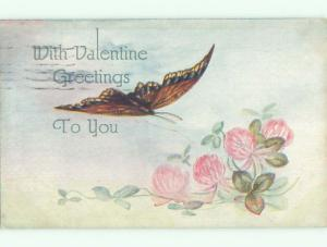 Pre-Linen valentine BEAUTIFUL LARGE BUTTERFLY OVER PINK FLOWERS k5657