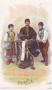 TC: Man Teaching His Kids To Sew, Sewing Machine, Servia/Serbia, 1892