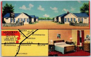 1950s Springfield, Illinois Postcard HIGHWAY HOTEL Highway 36 Roadside Linen