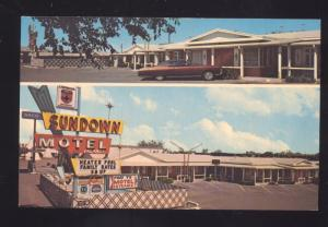 HOLBROOK ARIZONA ROUTE 66 SUNDOWN MOTEL 1960's CARS ADVERTISING POSTCARD