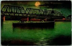 Davenport, Iowa Postcard A Moonlight Boat Ride on the Mississippi 1910s Unused