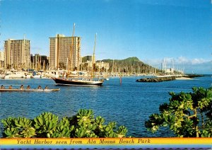 Hawaii Honolulu Yacht Harbor Seen From Ala Moana Beach Park