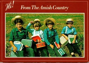 Pennsylvania Amish Country Group Of Amish School Boys 1986