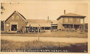 Abbot ME Hunters Home Gas Pumps Restaurant U-Auto Rest Real Photo Postcard