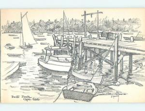 1956 Signed Art Postcard - Boat & Dock Scene Cape Cod - East Brewster MA p1707