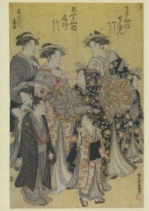 Katsukawa Shincho The Courtroom Ogino Of Ogi-Ya Painting Postcard
