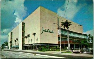 Miami, Florida Postcard JORDAN MARSH DEPARTMENT STORE Street View c1950s Unused