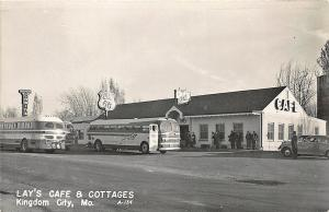 Kingdom City MO Lay's Cafe & Cottages Greyhound Bus Stop RPPC Postcard