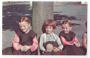 Amish Children Mennonite Postcard Resting Tree Lancaster PA