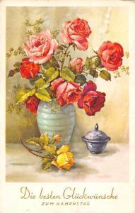 Die besten Glueckwuensche zum Namenstag! Roses Vase, Name Day Greetings!