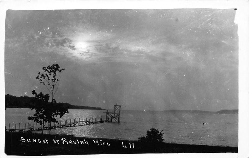 Beulah Michigan~Sunset over Crystal Lake~Benzie County~Vintage RPPC-Postcard