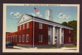Virginia Post Card US Post Office Martinsville