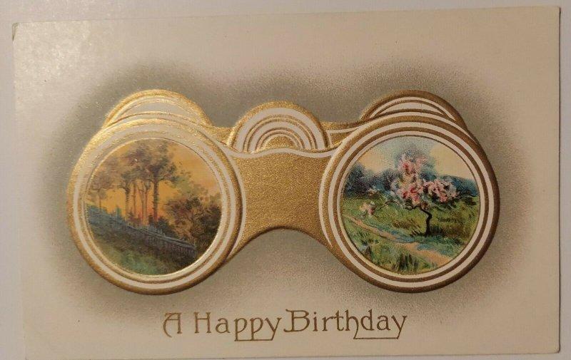 Binoculars Happy Birthday Postcard Embossed Gold Gray Spring Tree Sunset Sunrise