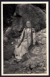 American Indian Woman Full Regalia Real Photo unused c1920's