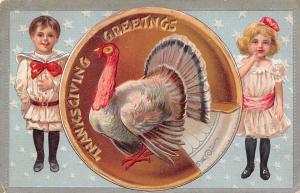 Thanksgiving~Boy Rubs Tummy~Big Turkey on Bigger Pumpkin Pie~Girl~Silver Stars