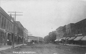 H17/ Dundee New York RPPC Postcard c1910 Main Street Stores Wagons